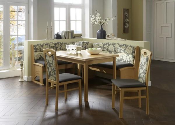 Truhen-Eckbankgruppe, Buche Natur Dekor; Eckbank, 2 Stühle und Vierfußtisch, Bezug: grau/beige, variabel aufbaubar